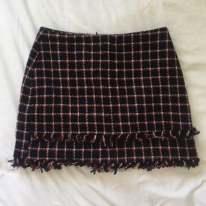 Zara Tweed Plaid Mini Skirt M